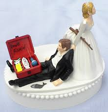 funny fishing wedding cake toppers. wedding cake topper gone fishin\u0027 fishing pole tackle box groom fish themed w/ bridal garter bride dragging pulling humorous funny unique top toppers i
