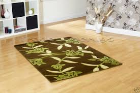 new large chocolate brown lime green rug beige 160x225