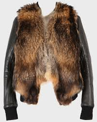 this rac fur leather sleeve jacket