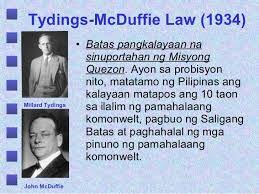 Image result for Tydings McDuffie Act