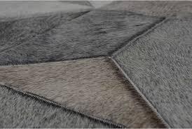 patchwork cowhide rug details