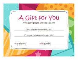 Free Printable Gift Certificate Templates Online Birthday Gift