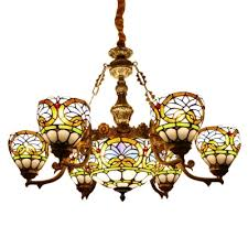 baroque stained glass center bowl chandelier with 6 8 small bowl shades for living room