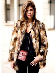 multicolor faux fur coat women brown color block long sleeve winter coat