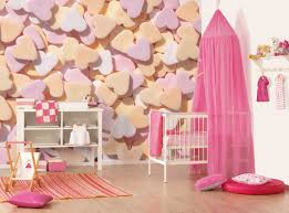 Good looking girl baby nursery room decoration using heart pattern  light pink baby room wall mural