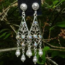 wedding earrings bridal jewelry swarovski crystal freshwater pearls images of