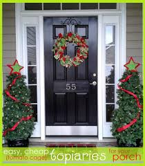 how to hang garland around front doorHow To Make tomato cage  garland Inexpensive Topiary Trees