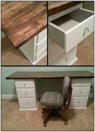 Office desk stores Executive Home Office Diy Office Desk Made From Thrift Store Nightstands And Butcher Block Counter Top Love The Gray Detail Inside The Drawers Hunts Office Furniture Diy Office Desk Made From Thrift Store Nightstands And Butcher Block