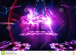 Rave Stage Design Night Party Rave Concert Stage With Pink Lasers Stock Image