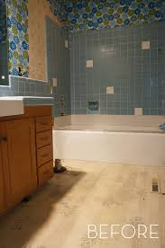 before and after refinished tile bathroom makeover