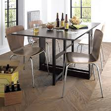 kitchen tables and more. Contemporary Apartment Dining Room With Unique Solid Walnut Kitchen Tables, 4 Pieces Metal Legs Side Chairs, And Rectangular Gloss Black Wooden Table Tables More N