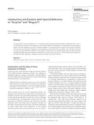 Pdf Interjections And Emotion With Special Reference To Surprise