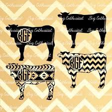 Cow Silhouette bundle SVG Cow Monogram Frames Svg aztec | Etsy