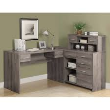 desk in office. Interior:Gray Office Desk Wooden L Shaped Taos Shape Rustic Wooday Chairs Weatheredey In