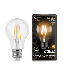 <b>Gauss LED Filament</b> A60 E27 6W 600lm 2700К 1/10/40 арт ...