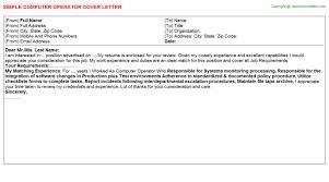 Computer Operator Job Cover Letter