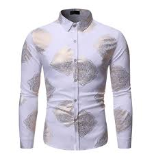Mens Designer Grey Shirt Us 4 65 42 Off Luxury Print Mens Shirt Club Clothing Mens Designer Print Slim Fit Shirts For Men Long Sleeve Nightclub Slim Party Shirt Camisa In