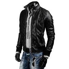 mens designer slim fit black quilted leather biker jacket