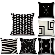 decorative throw pillow cover geometric black white pattern cushion cover for sofa home decor 45x45cm patio furniture cushions outdoor cushions on