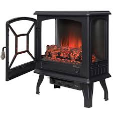 freestanding electric fireplace stove heater in black with vintage glass door realistic flame and logs