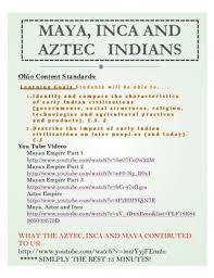 Maya Aztec And Inca Indians Unit