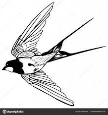 ласточка эскиз чб векторный силуэт летающих ласточки векторное