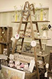 Wooden Ladder Display Stand Vintage Wedding Ideas with the Cutest Details Shelves Vintage 25