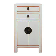 Golden Lotus Antiques - Chinese Off White Lacquer Side End Table Nightstand  cs2697 - Nightstands and