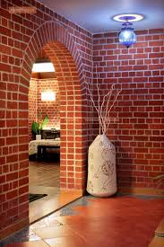 Small Picture Lobby with Brick Wall and Marble Flooring Design Photos
