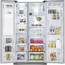 samsung refrigerator side by side. samsung - rsg257aars 24.1 cu. ft. side-by-side refrigerator -stainless steel | sears outlet side by