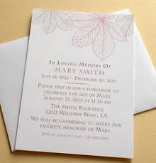 memorial service invitation celebration of life invitation with green leaves personalized