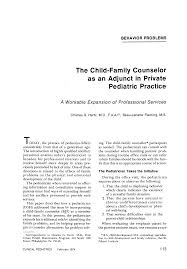 The Child-Family Counselor as an Adjunct in Private Pediatric Practice