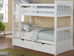 white wooden bunk beds with drawers
