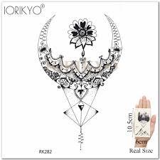 сделай сам женская временная татуировка черная рука грудь искусство тату наклейки для девочек эскиз хна цветок цепи лотос временная