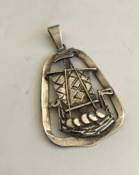large sterling viking ship pendant claes giertta sweden mid century 1882568398