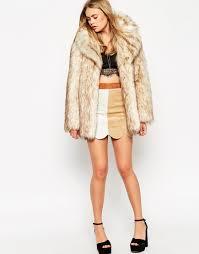 stroller length faux fox fur coat