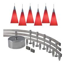 monorail lighting pendants. JESCO Lighting 144 In. Low-Voltage 300-Watt Monorail Kit With 6 Red Pendants