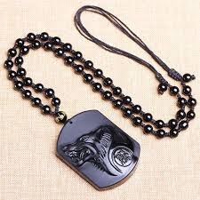 uni obsidian handmade carved wolf head pendant necklace amulet lucky jewelry 1 of 5free