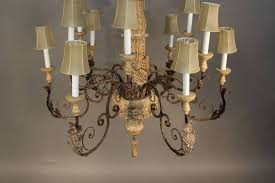 wood and wrought iron chandelier