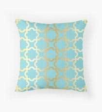 moroccan throw pillows. Gold,turquoise,mint,moroccan,quatrefoil,pattern,modern,trendy, Moroccan Throw Pillows