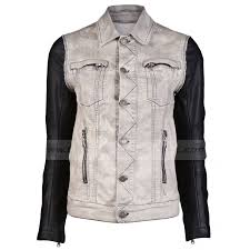 justin bieber denim jacket with black leather sleeves