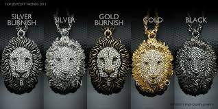 lion king head pendant chain necklace animal jewelry gold silver black swarovski crystal