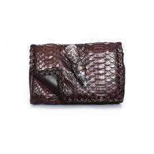 Snakeskin Designer Bags Maison Du Posh Brown Clutch Bag In Snakeskin With Silver Skull Ring