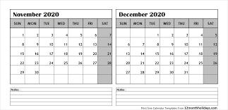 Printable Blank Two Month Calendar November December 2020