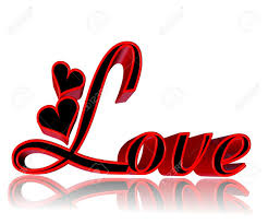 Word In Red 3d Word Love With Hearts In Red And Black On White Background