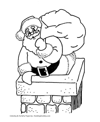 Santa Claus Coloring Pages Santa Claus Down The Chimney