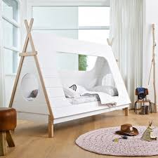 Self Assembly Bedroom Furniture Kids Teepee Cabin Bed In White Solid Pine Cabin Beds Cuckooland