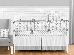 sweet jojo designs mod arrow grey and white 9 piece crib bedding set