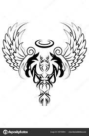 čert Anděl Křídla Ozdoba Tetování Stock Fotografie Onionime