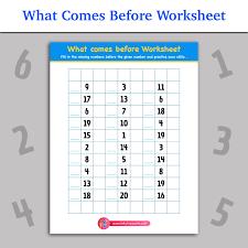 What Comes Before Worksheet | Inky Treasure